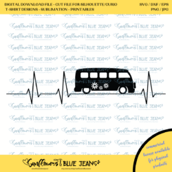 Digital Download Cut Files / Kombi Heartbeat / For Use with Silhouette or Cricut