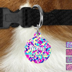 Double Sided Metal Pet ID Name Tag, Bright Camo, Dog tag, Cat tag