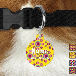Double Sided Metal Pet ID Name Tag, Bright Geometric, Dog tag, Cat tag