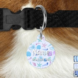 Double Sided Metal Pet ID Name Tag, Glitter Mermaid, Dog tag, Cat tag