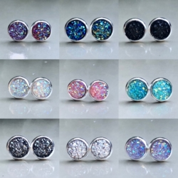 Stainless Steel 8mm Sparkling Resin Studs
