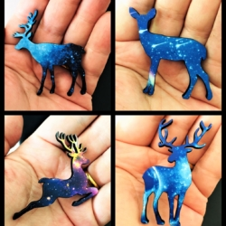 Pretty Christmas Deer Brooches / Pins / Embellishments – 4 Designs – Galaxy Patterns