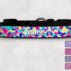 Personalised Bright Camo Print Dog Collar