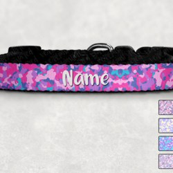 Personalised Pastel Camo Dog Collar