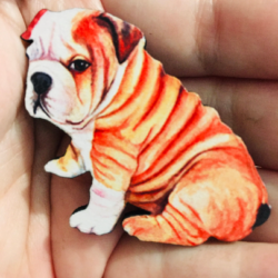 Cute Bulldog Puppy Brooches / Pins / Embellishments