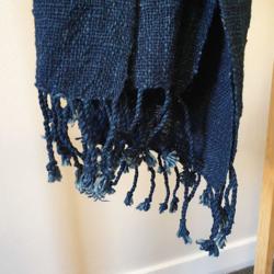 Handwoven Natural Dyed Cotton Scarf – Indigo (Free Shipping)