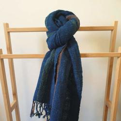 Indigo Handwoven Natural Dyed Cotton Scarf