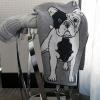 Branberry Australian made knitted merino wool French bulldog (frenchie) blanket in Grey