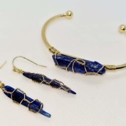 kyanite natural stone bracelet & earring set