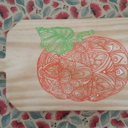 Dual Sided Hand Painted Board – Pumpkin