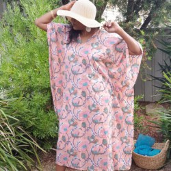 Hand printed Kaftan – Peach delight