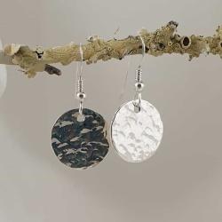 Sterling Silver Beaten Circle Earrings