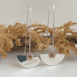 Sterling Silver Half Circles Earrings with 18 ct Rose Gold Swirls
