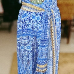 blue floral long silk jumpsuit with embellishments
