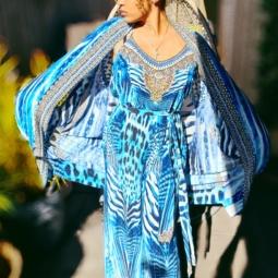 Amaili silk jumsuit with embellishments
