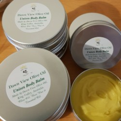 Unisex Natural Body Balm – handmade with love by Dawn View Olive Oil – price includes postage.