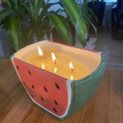 Watermelon candle in planter pot