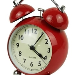 Twin Bell Alarm Clock Curve Red Metal And Glass 13cm + FREE Battery