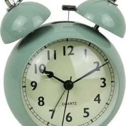 Twin Bell Alarm Clock Curve Pale Teal Metal And Glass 16cm + FREE Battery