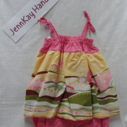 Baby Sun Suit – Pink Spot with Frill – 9-12mths