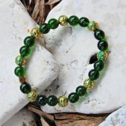 Stretch Bracelet in Dark Green & Gold