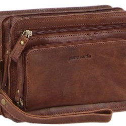 Pierre Cardin Rustic Leather Men's Organiser Bag – Brown