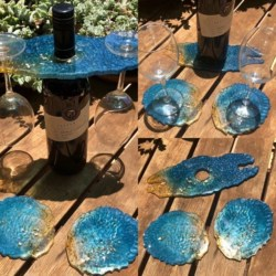 Agate Coaster & Wine Caddy Set