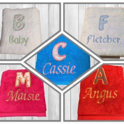 PERSONALISED EMBROIDERED/ APPLIQUE BATH TOWEL/ BATH SHEET