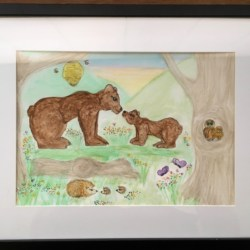 'Bear Family and Woodland Friends' Original Signed Water Colour Framed – Free Postage