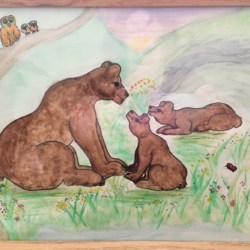 'Bear Family and Owl Family – fishing lessons' Original Signed Water Colour Framed – Free Postage