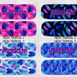 Neon Tropical Icy Pole Holder 1, Zooper Dooper, Monstera, Pink, Blue