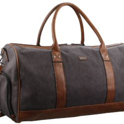 Pierre Cardin Urban Canvas Overnight Duffle Bag – Black