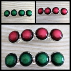 Red or Green Faux Stone Barrettes / Hair Clips