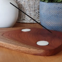 Red Cedar Timber Tealight Candle and Incense Holder