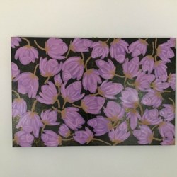 Pink Rose Flower Abstract Painting Canvas Kim Magee Original Art Home Decor New