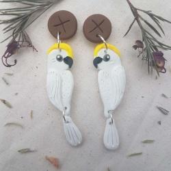 Sulphur Crested Cockatoo on Gumnut Earrings