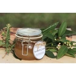 Pure raw beautiful honey in a reusable jar