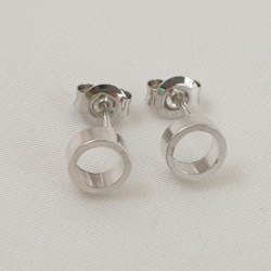 Sterling Silver Thick Tube Circular Studs