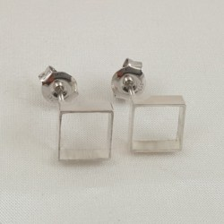 Sterling Silver Thick Square Tube Studs