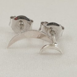 Sterling Silver Large & Small Crescent Moon Studs