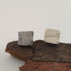Sterling Silver Solid Square Patterned Studs