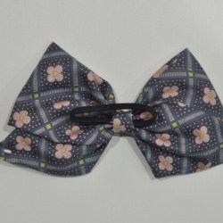 Grey and Pink Monochrome Bow Ear Saver Hair Bow for Ear Loop Face Masks
