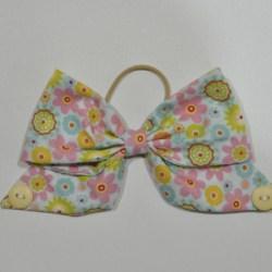 Bright Floral Bow Ear Saver Hair Bow for Ear Loop Face Masks
