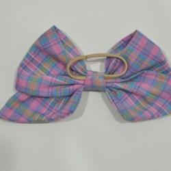 Purple Checkered Bow Ear Saver Hair Bow for Ear Loop Face Masks