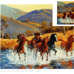 Brumby horse chase across the Snowy River Wall Art print A3 size
