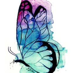 Blue mauve butterfly greeting card by Australian artist Glenda Gilmore