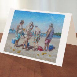 Australian Beach Cricket greeting card by Sima Kokaev