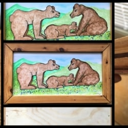 Bear Family Trio – Watercolour Painted Board in Custom Made Pine & Jarrah Frame – signed original – Free postage