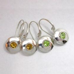 Silver Shield Earring (round) with semi-precious Gemstone