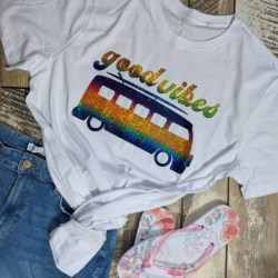 Adults T-Shirt / Holographic Vinyl Print / Good Vibes Kombi / SIZE L (mens) / ONLY ONE AVAILABLE